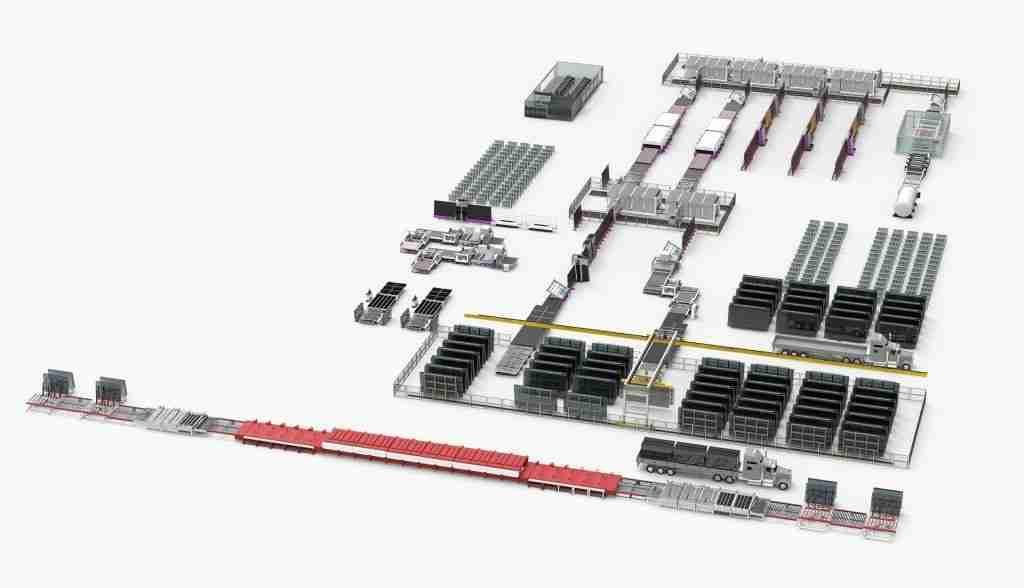 Tổng số dòng cho lisec nhà máy thông minh cho kính cường lực, kính nhiều lớp và sản xuất thủy tinh cách nhiệt.