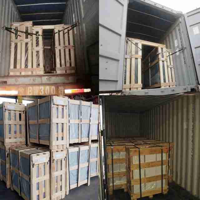 Starkes Sperrholz, um die Sicherheit von Glas bei Ferntransporten zu gewährleisten.