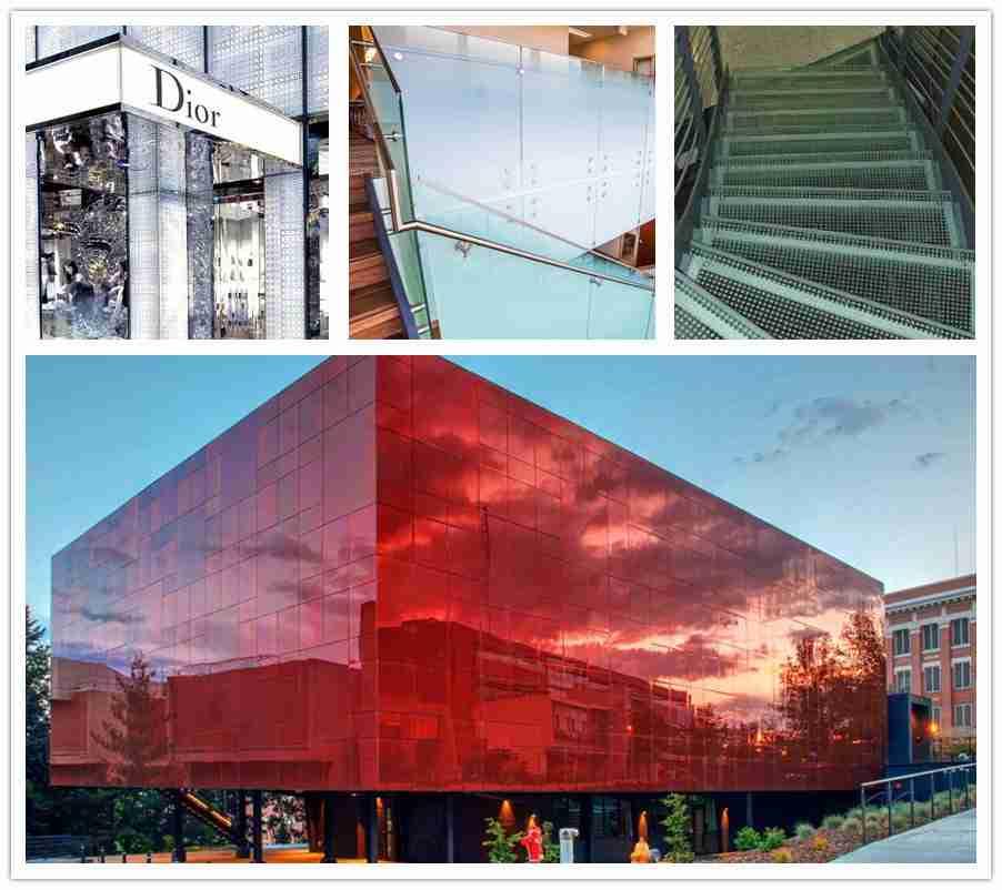 Shenzhen Dragon Glass aplicaciones de vidrio de impresión digital para fachada, barandilla, escaparate, escaleras, etc.