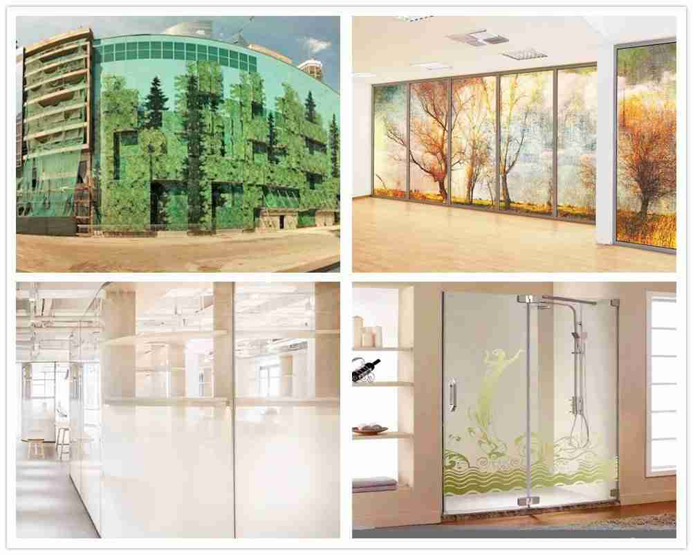 aplicaciones de vidrio de impresión digital para fachada barandilla partición sala de ducha