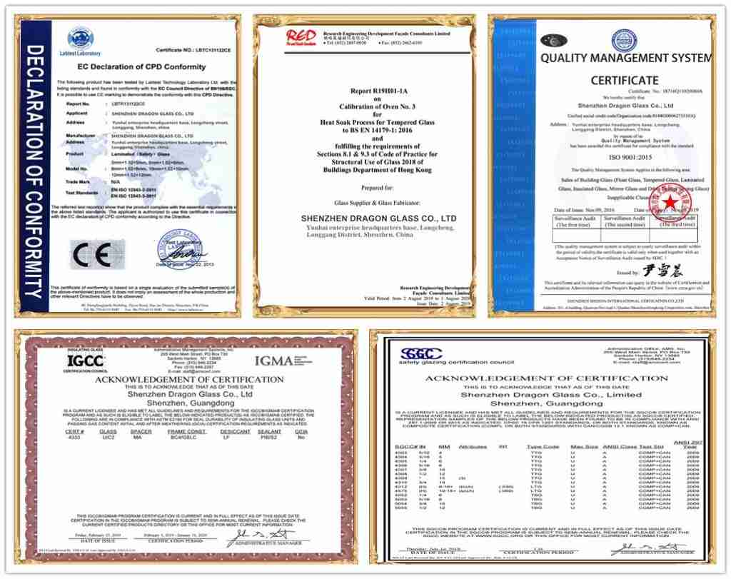 Certifications de Shenzhen Dragon Glass