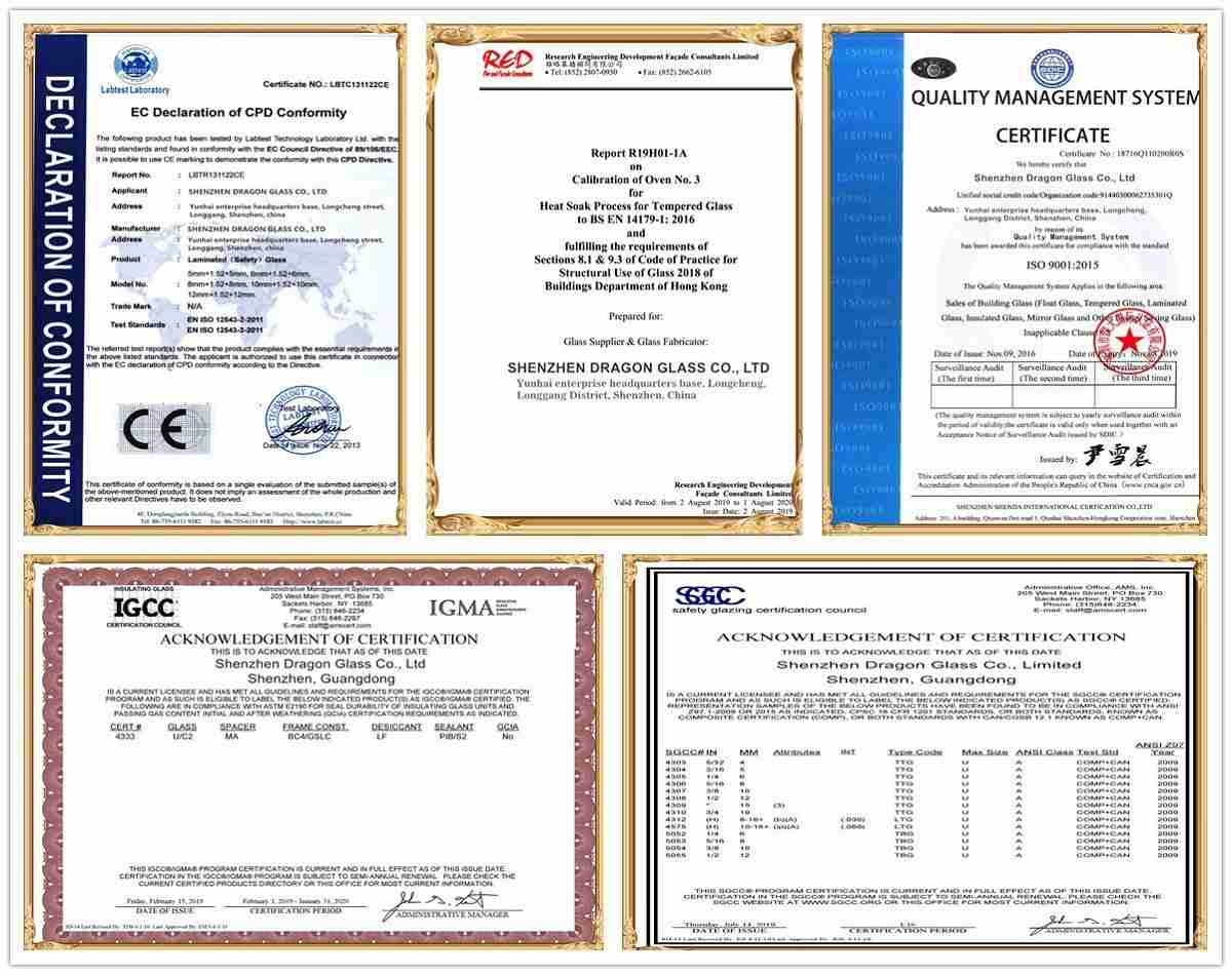 Certifications of Shenzhen Dragon Glass