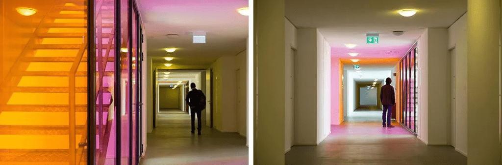 Diseños de sala de vidrio laminado de colores