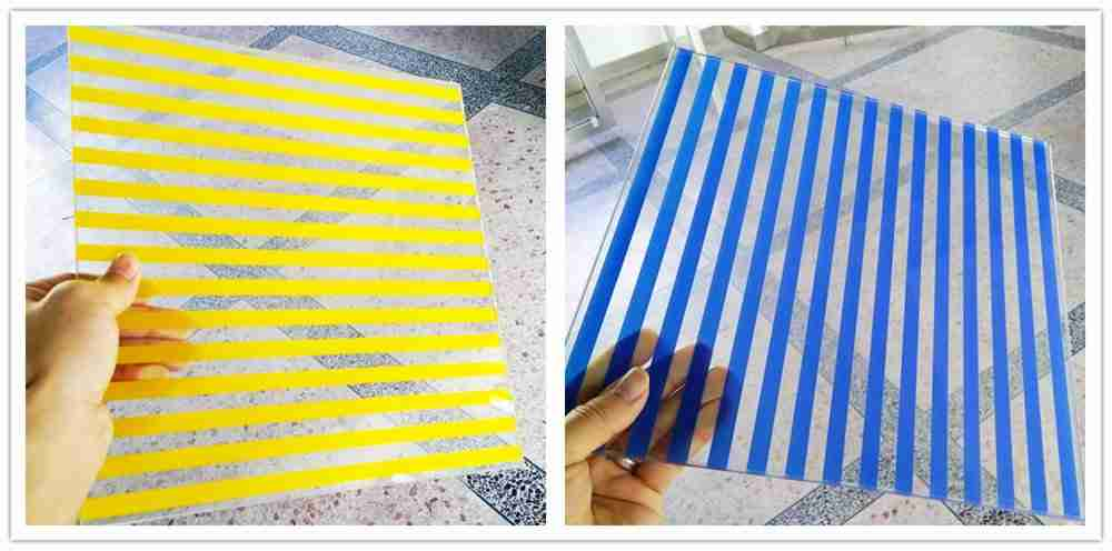 Keramisk frit glass med striper, barer, prikker, etc