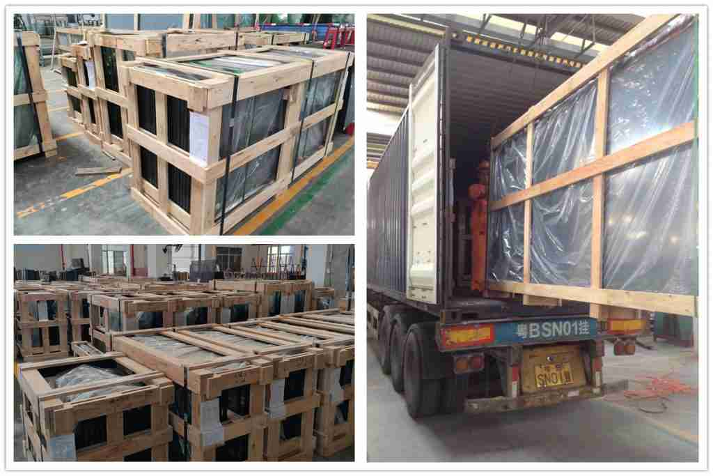 Strong plywood crates packing details for double glazing glass
