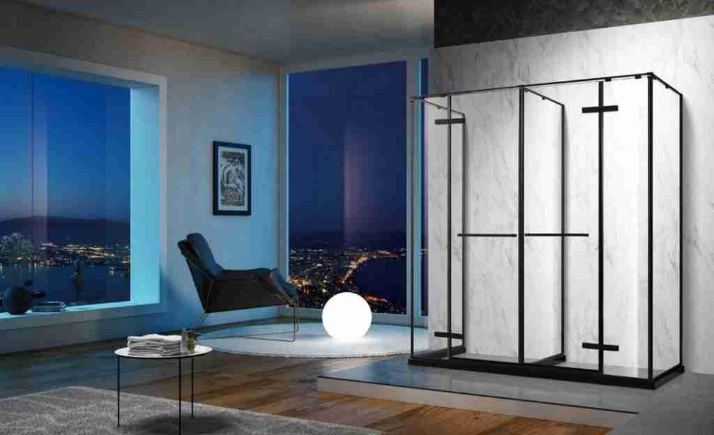 Thiết kế tốt Spacey cảm giác thấp sắt kính tắm cửa.