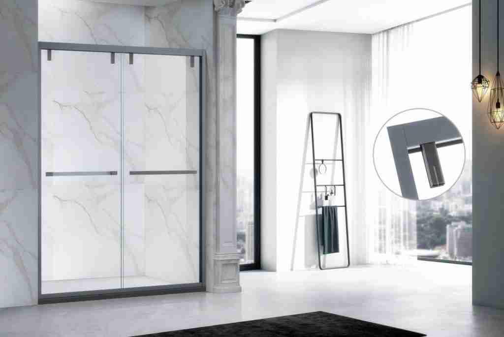 Super elegant skyve lav jern glass dusjdør