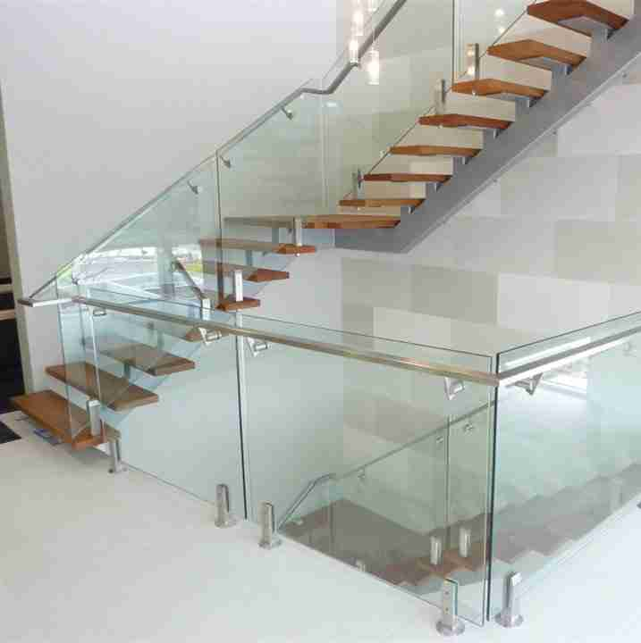 Elegant designs 6+1.52pvb+6 13.52mm tempered laminated glass railing for staircase with good price 5 glass railing for staircase