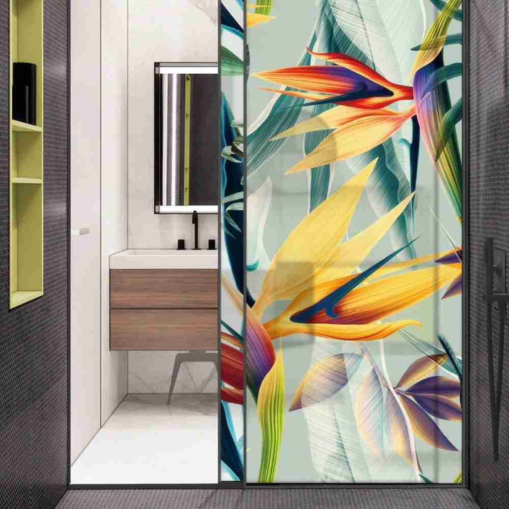 Digital printed tempered glass shower doors