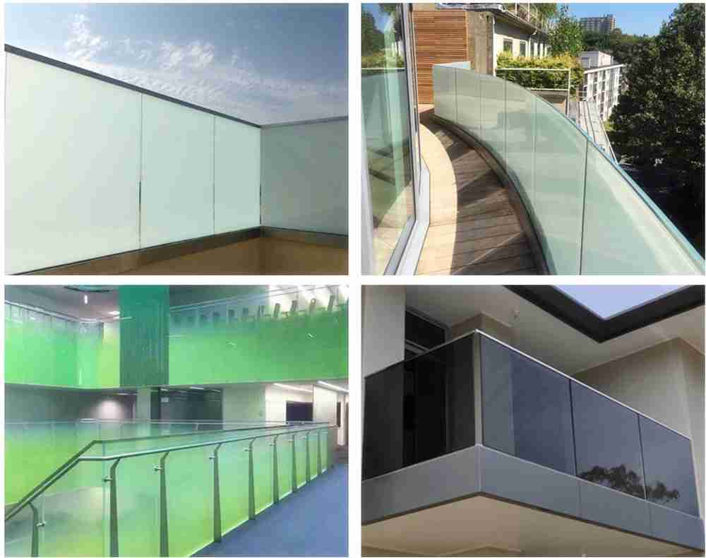 Different designs for glass railing in balcony