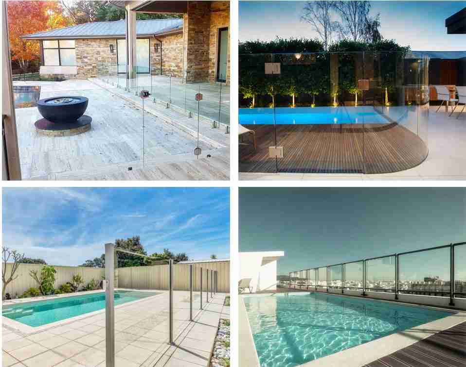 Glass for pool fencing types by installation accessories.