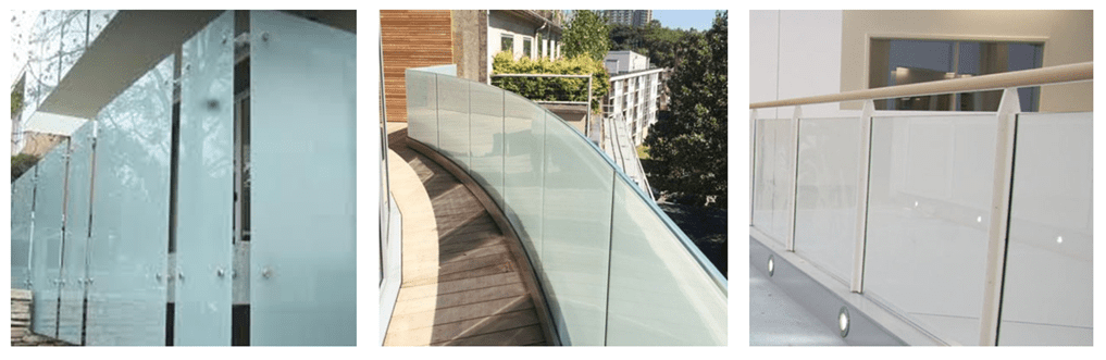 milky white laminated glass balcony railing