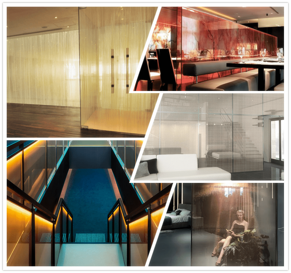 Mesh laminated glass is super fit for offic glass partitions, hotel rooms dividers, restaurant, railing, etc