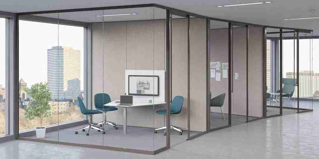 pvb laminated acoustic commercial glass partitions