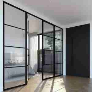 Interior design application of Super elegantly simple linear fluted glass