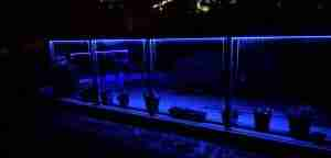 Lighted glass deck railing