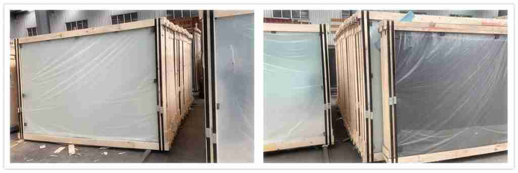 Laminated glass sheets packing details.