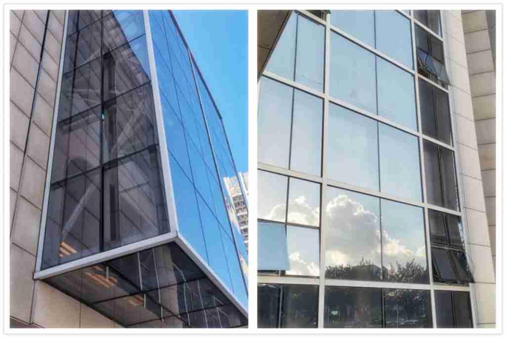 Светло-серое стекло, используемое в качестве изолированного стекла для фасадов