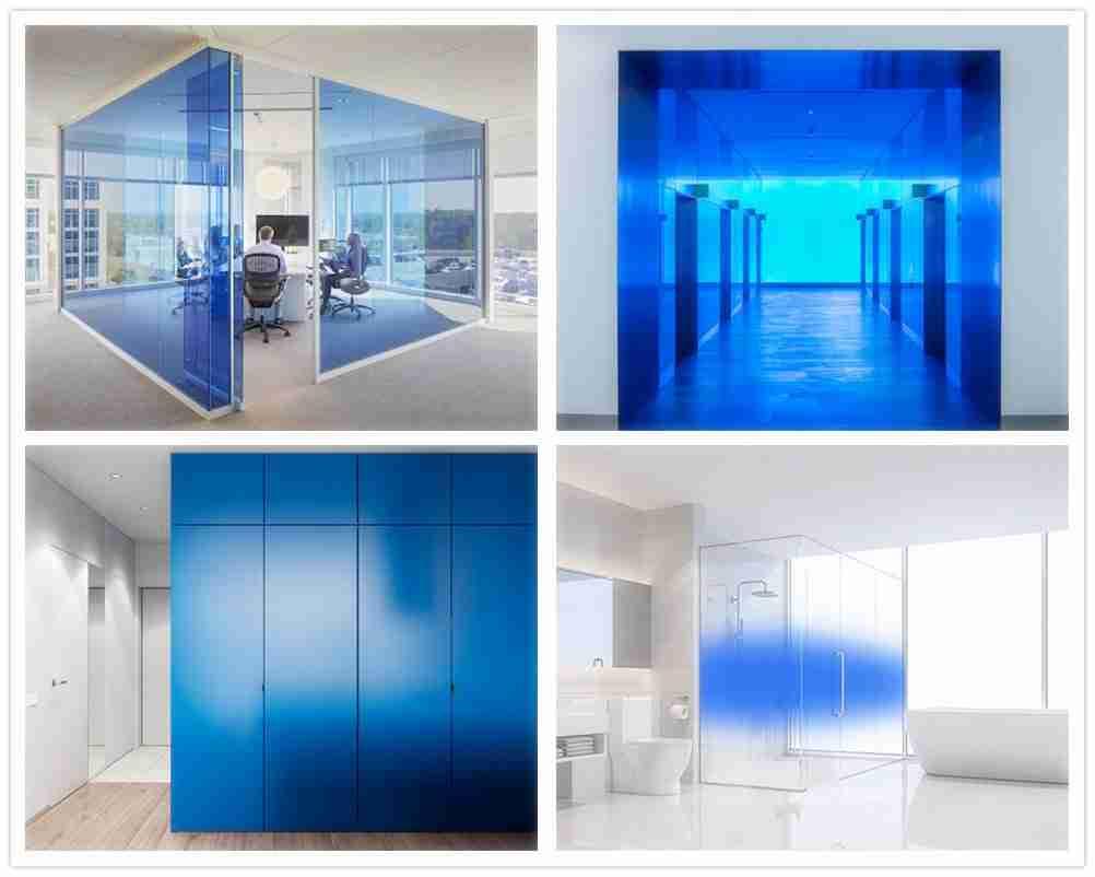 Blaues Verbundglas für Wanddekoration