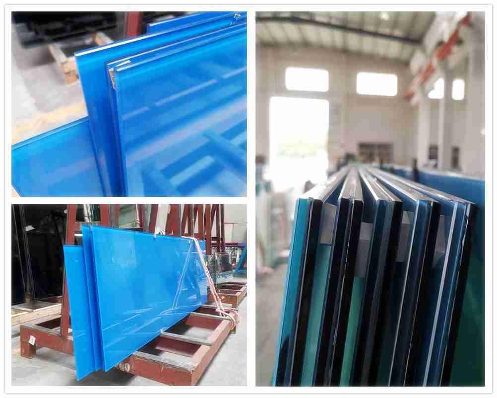 blaue Keramik Fritte Glas Verbundglas für Wanddekoration