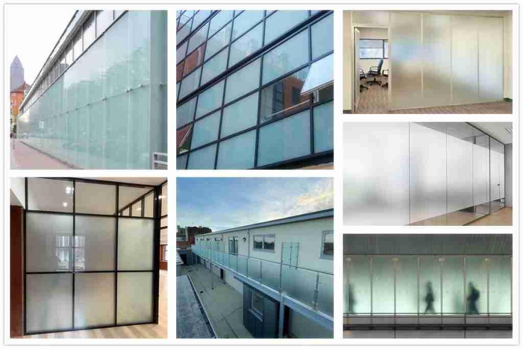Aplicaciones de vidrio laminado templado esmerilado