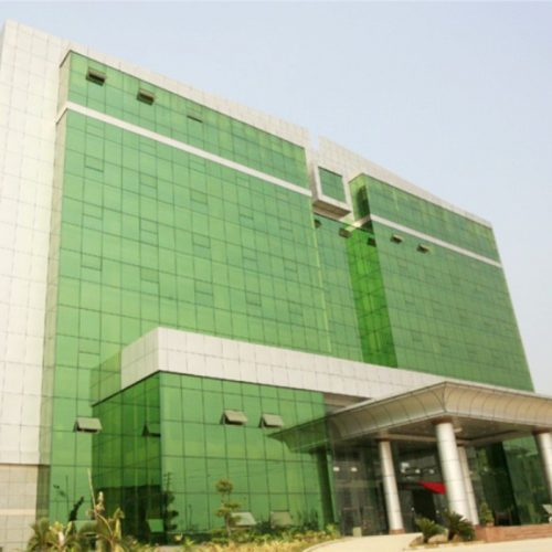 green reflective glass facade