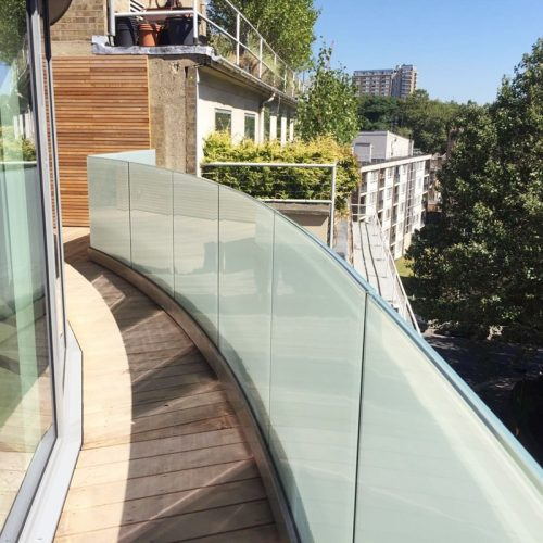milky white laminated glass railing